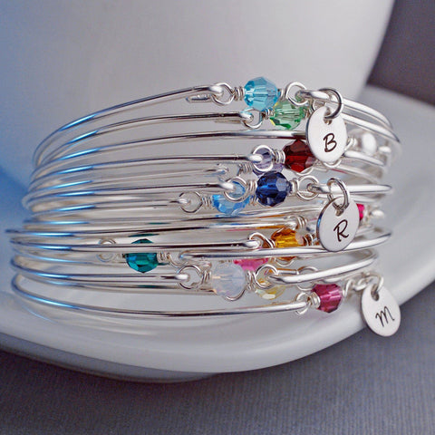 Birthstone Bangle Bracelet