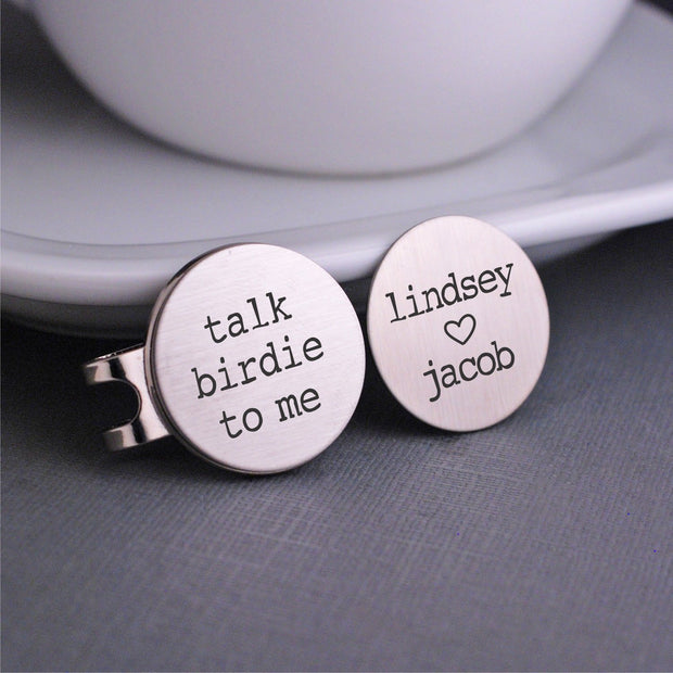 Golf Ball Marker Set: Talk Birdie to Me + Personalized Names – Golf Ball Markers – Love, Georgie