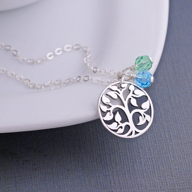 sterling silver tree of life pendant necklace with gems