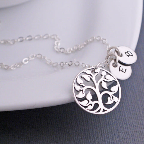 sterling silver tree of life pendant necklace with charms