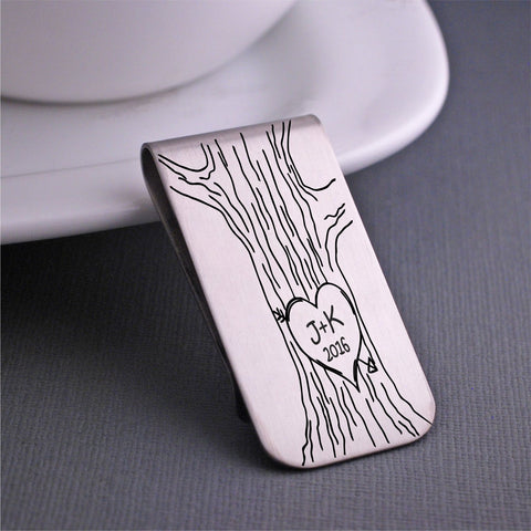 stainless steel tree trunk money clip