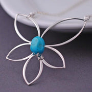 Turquoise Lotus Necklace – Necklace – georgiedesigns