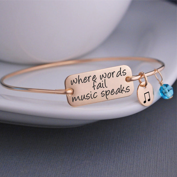 Where Words Fail Music Speaks Bracelet - gold