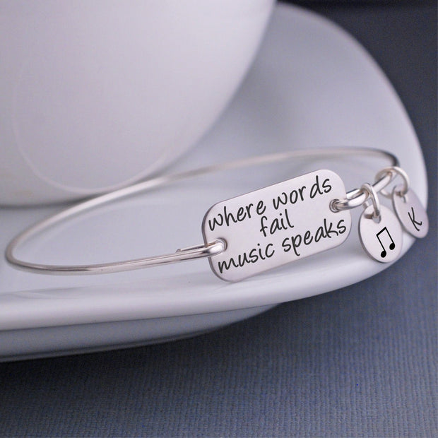 Where Words Fail Music Speaks Bracelet - silver