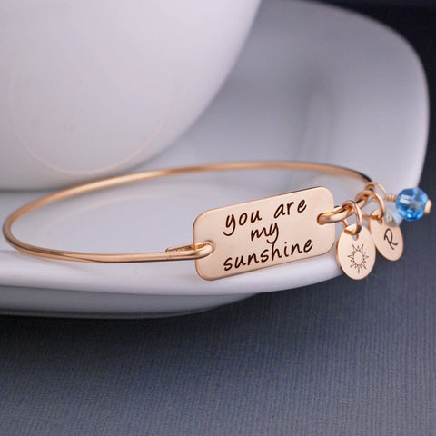You Are My Sunshine Bracelet in gold