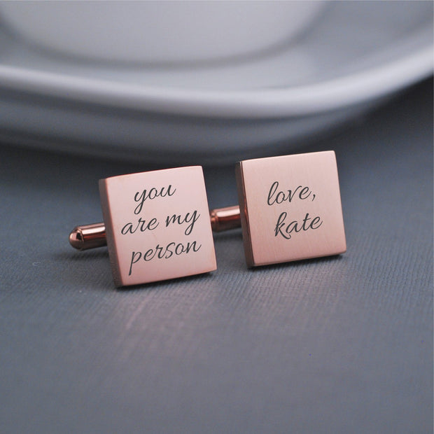 Engraved Custom Handwriting Cufflinks. Square. 14k rose gold plated stainless steel. Personalized with message and name. Made by Love Georgie.