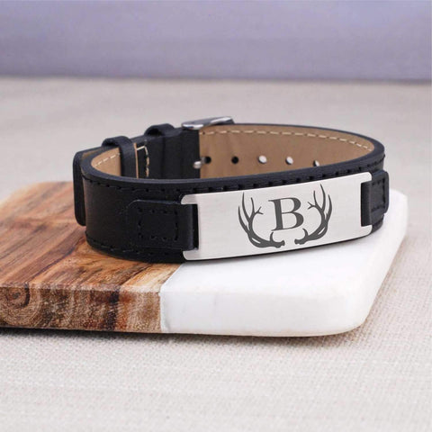 Leather Bracelet - Antler with Initial