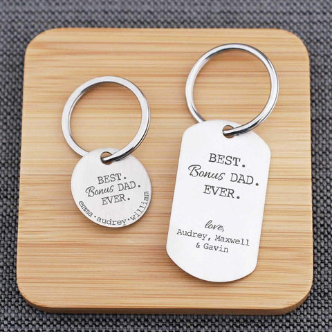 Personalized Best BONUS Dad Ever Keychain