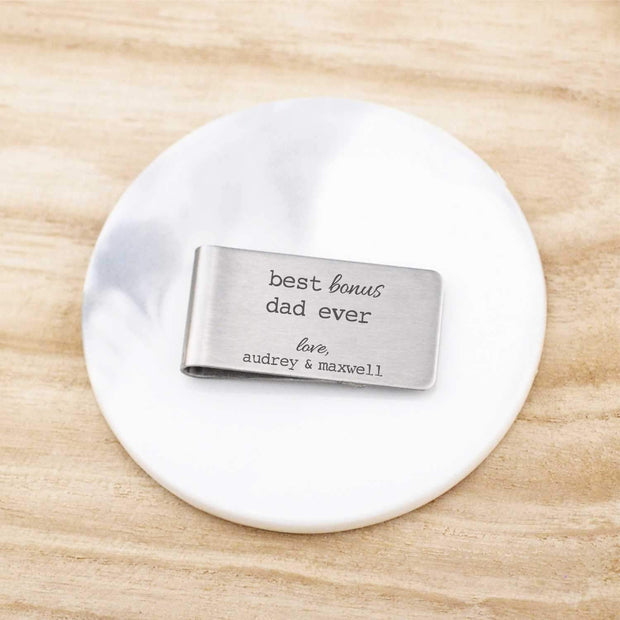 Money Clip – Best Bonus Dad Ever – stepdad gift engraved with kids' names