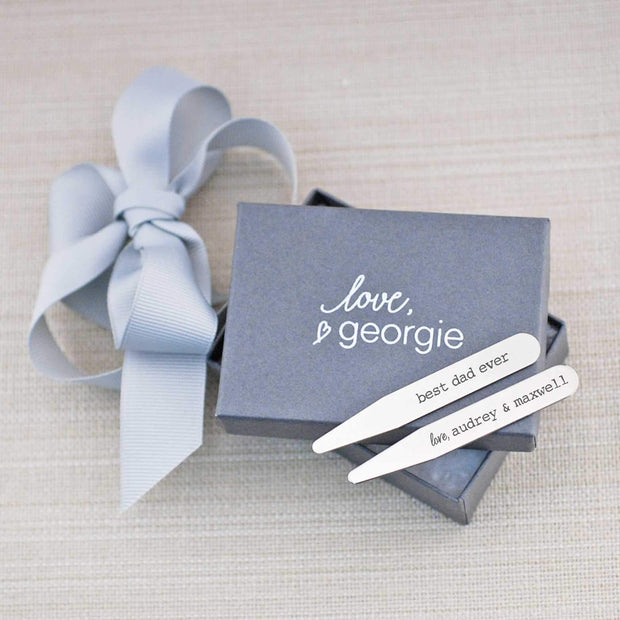 Best Dad Ever engraved collar stays with kids' names. Stainless steel. Gift wrapping option shown. Made by Love Georgie.