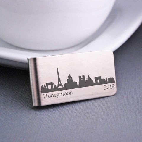 Custom Money Clip with City Skyline and engraved text - Paris