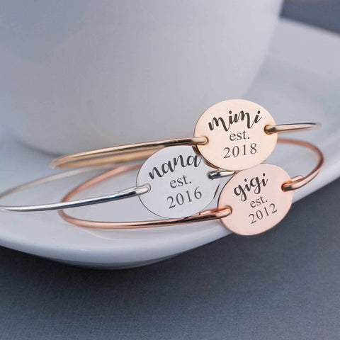 Est. Year Bangle Bracelet. Engraved gift for Mom or Grandma. Shown in 14k gold, 14k rose gold, and sterling silver. Made by Love Georgie.