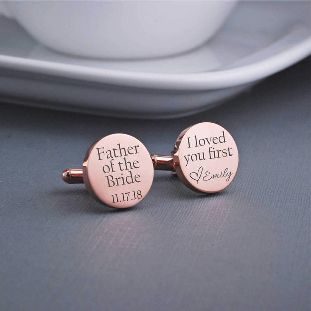 Personalized Father of the Bride Cufflinks. Round. 14k rose gold plated stainless steel. Engraved with bride's name and wedding date. Made by Love Georgie.