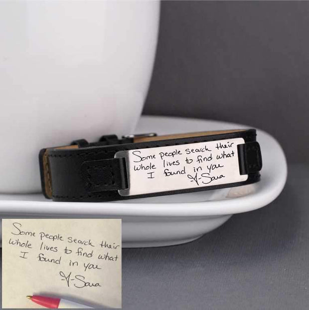 Leather Bracelet with Engraved Handwriting