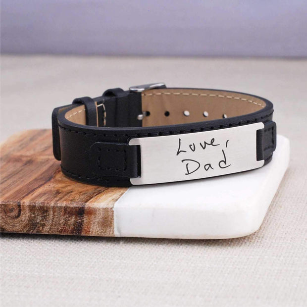 Leather Bracelet - Engraved Handwriting