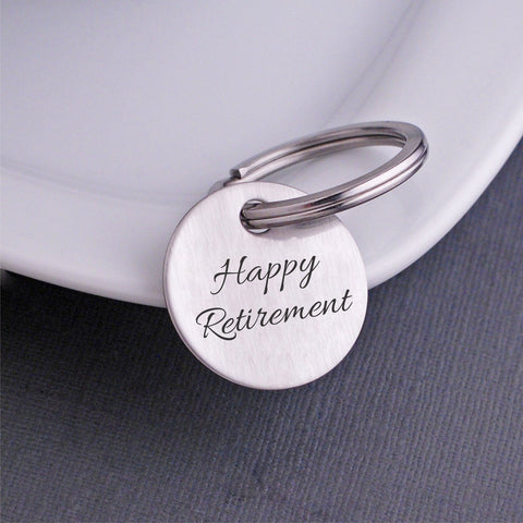 retirement gift - Happy Retirement Keychain circle
