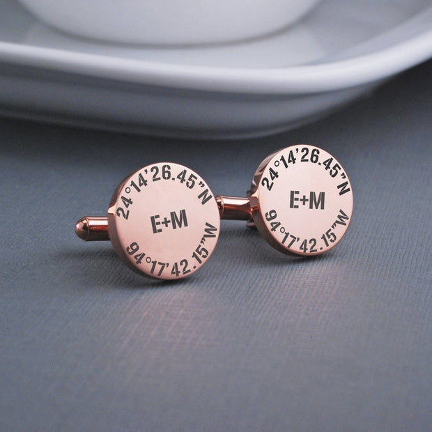 Personalized Engraved Latitude Longitude Cufflinks with Coordinates, Initials, Date. Detail view of round 14k rose gold plated stainless steel cufflinks by Love Georgie.