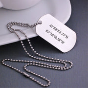 Dog Tag Latitude Longitude Necklace – Necklace – Love, Georgie