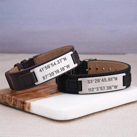 Leather Bracelet - Latitude Longitude