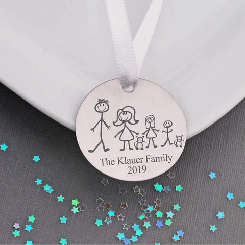 Personalized Christmas Ornament - Stick Family