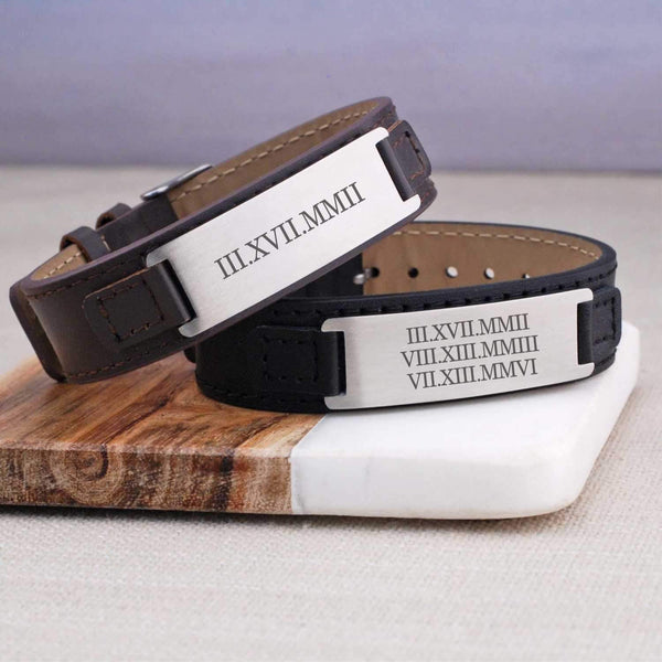 Groom Gift - Leather Bracelet - Roman Numerals