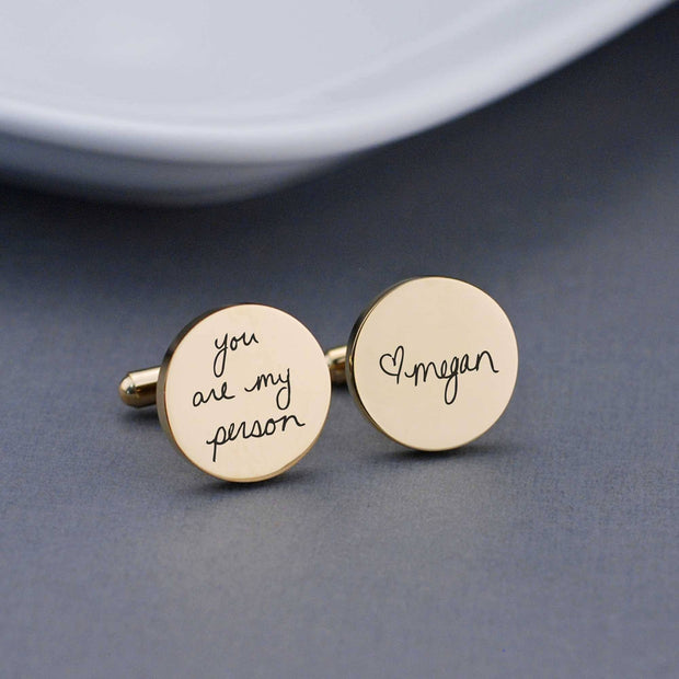'You are My Person' Cufflinks in Custom Handwriting