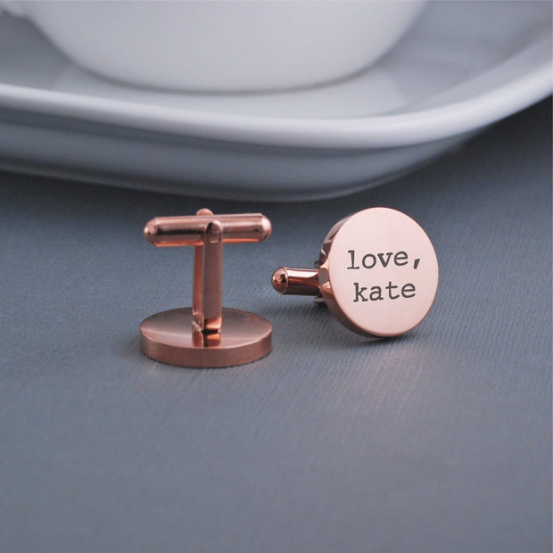 Custom Engraved 'You are my person' cufflinks with name. Detail view of round 14k rose gold plated stainless steel cufflinks by Love Georgie.