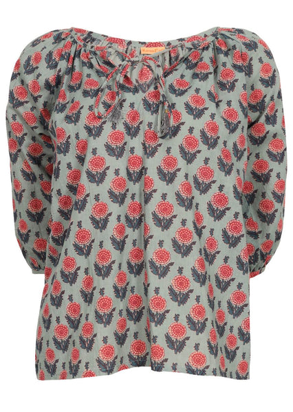 Bella Cotton Blouse-Aster Print