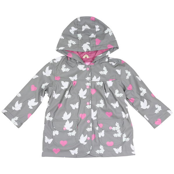Korango Kids Raincoat-Grey Birds n Butterflies-Colour Changing