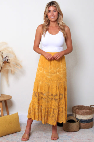 Stevie Lace Skirt-Mustard Yellow