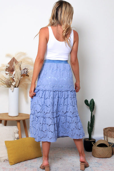 Stevie Lace Skirt-Cornflower Blue