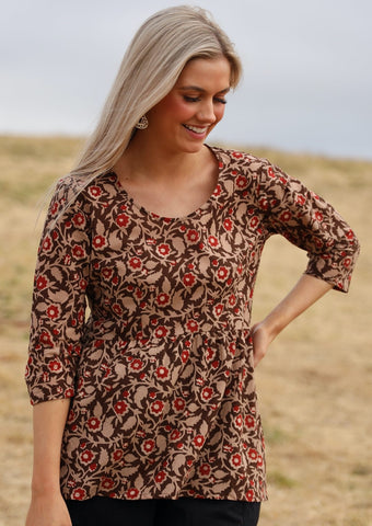 Peplum Cotton Top-Baronia Print