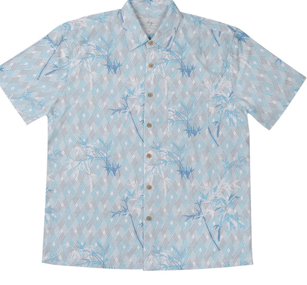 Men's BAMBOO FIBRE SHIRT - Mint Geometric Print