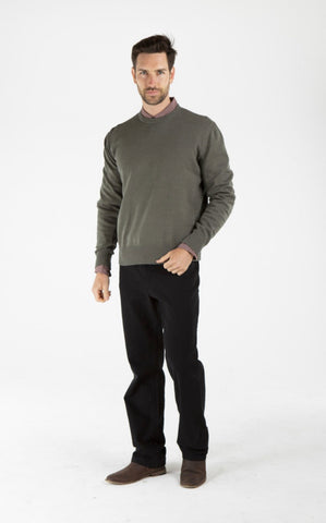 Men's Hemp Cotton Henley Tee-Olive