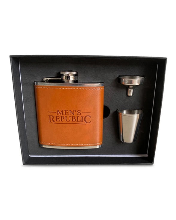 Men's Republic Hip Flask, Funnel and 2 Cups