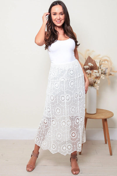 Sara Lace Skirt-White