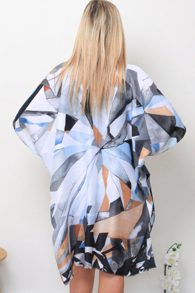 Autumn Kimono-Blue Abstract