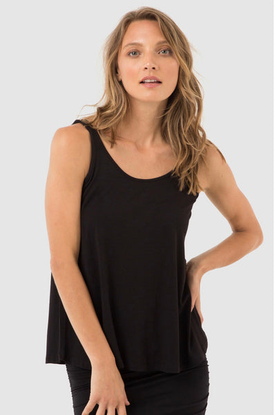 Bamboo Relaxed Swing Singlet-Black