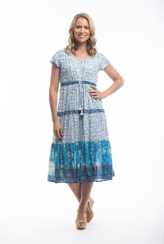 Orientique Midi Dress-Faro Print