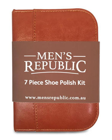 Shoe Shine Kit - 7 Pieces in Zipper Bag