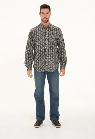 Men's Hemp Cotton Long Sleeve Geometric Print Shirt-Black