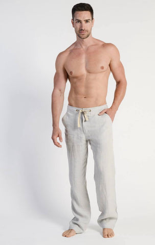 Hemp Mens Relaxing Beach Pants with Draw String-Ivory
