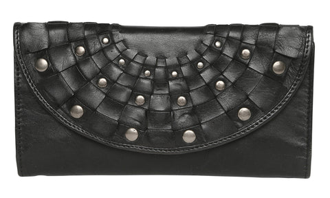 Modapelle Leather Studded Wallet-Black
