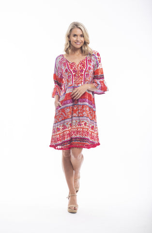 Orientique Boho Dress-Ibiza Red Print