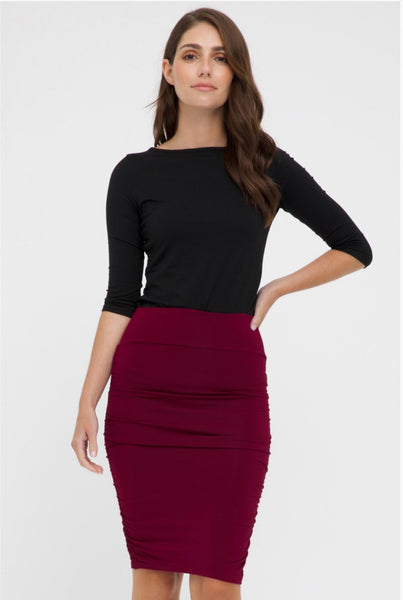 Ruched Bamboo Skirt-Rich Red