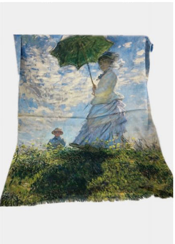 Art Scarf-Monet-Woman with Parasol