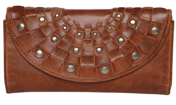 Modapelle Leather Studded Wallet-Tan