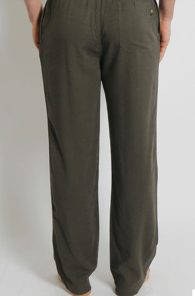 Men's Bamboo Hemp Elastic Waist Beach Pants-Khaki