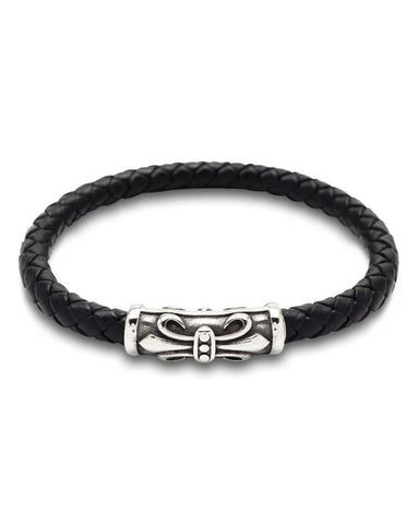 Stylish Leather Bracelet with Stainless Steel Clasp