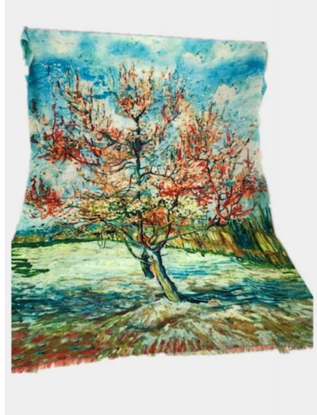 Art Scarf-Van Gough-Peach Blossom Tree